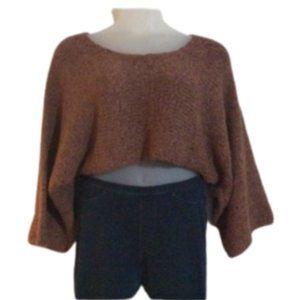 Simply Greta Woven Crop Sweater w/Bell Sleeves